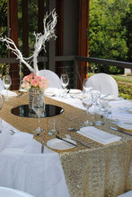 Can Accept Customized Light Gold Sequin Tablecloth/Overlay/Linens For Wedding and Events Decoration (90'' Round)
