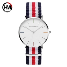 Hannah Martin Nylon Watchband Men's Watch 24 mm Large Size Black Man Wrist Watch 2018 Fashion Dress Watches Women Dropshipping(China)