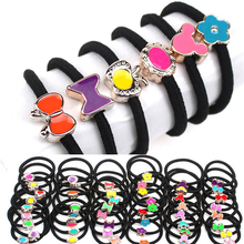 2017 Fashion Women Elastic Hair Bands Black Scrunchy Headband Bow Ring Girl Hair Accessories Rubber Gum Ornaments 10Pcs Hairband(China)
