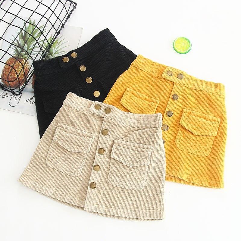 Baby Girls Skirt Autumn Winter Toddler Children Corduroy Skirts Cotton Gray Velvet Skirt Kids Clothes