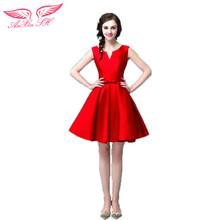 AnXin SH Red satin Cocktail Dresses short bride Cocktail Dresses dinner red Cocktail Dresses 6898 S
