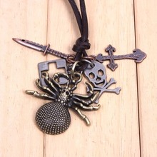 2016  fine Antique copper retro necklace trendy top quality alloy Spider Pendant  fashion men sieraden christmas/birthday gift