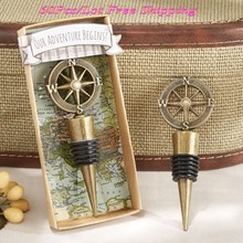 "(60 Pieces/lot) Wedding souvenirs of ""Our Adventure Begins""compass wine stopper favors For unique wedding gift and Party Favors(China)"
