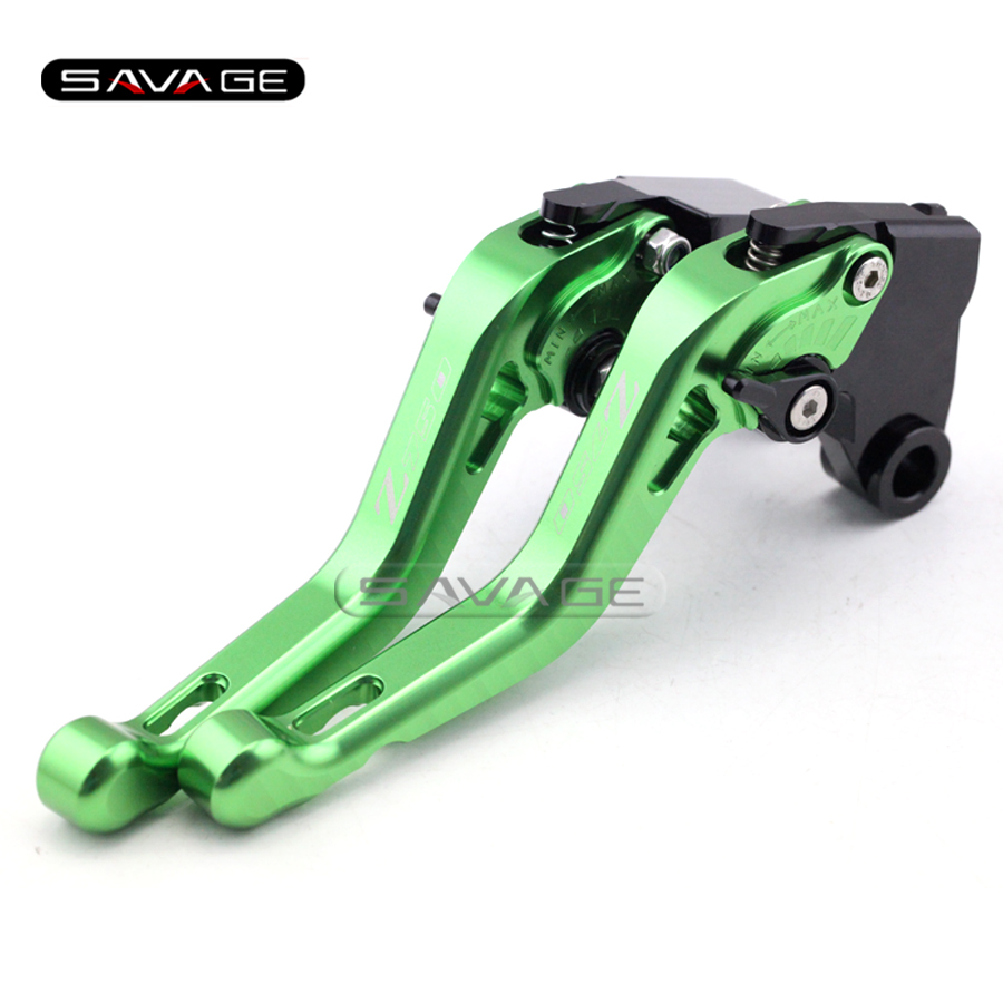 For KAWASAKI Z750 R Z750R 2011 2012 2013 Green Motorcycle CNC Aluminum Adjustable Short Brake Clutch Levers logo Z750<br>