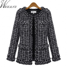 Wmwmnu Autumn winter women jacket Slim thin checkered Tweed coat Large size casual O-Neck Plaid Jacket with pocket outwear ls462(China)