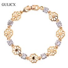 GULICX Brand White Round Crystal CZ Hand Chain Bracelets for Women Yellow Gold Color Flower Bangle Statement Jewelry L133