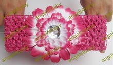 free shipping 5 color girl 50pcs gerbera daisy flowers sunflower diamond center with shimmery elastic crochet headband(China)