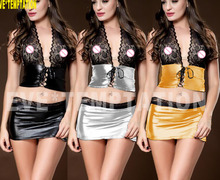 HOT Sexy lace glisten Metallic PVC FAUX LEATHER Underwear Babydoll Lingerie minidress Outfits Wrap miniskirt  6281