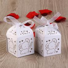 50pcs Hollow Out Fashion Elephant Pattern Candy Boxes Gift Bags Wedding Decoration Favors & Ribbons (White)