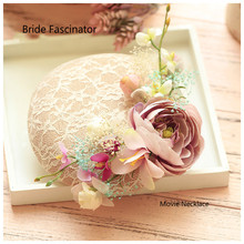 Brand New Handmade Bride Wedding Sinamay Headdress Lace Hair Fascinator Hat Women Cocktail Dinner Party Headwear Hair Clips