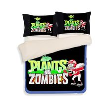 Free shipping children cartoon Plants V.S. Zombies 3/4pcs bedding set without the filler single full queen size home textile(China)