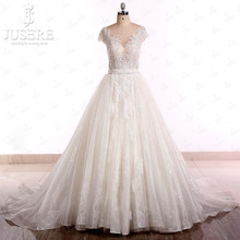 Illusion Bodice Lace Full with Beads Bride A line Organza  Tie Closure Back Luxury Queen Anne Neckline Wedding Dresses 2015