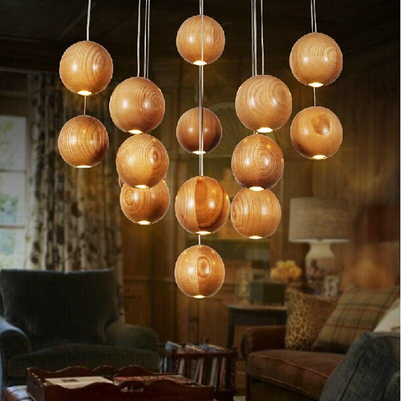 Ideas wood ball led lights for dining room living room adjustable cord home decoration lamp fixture lighting light<br>