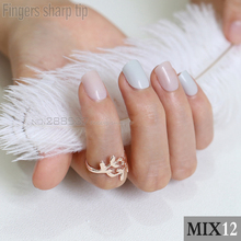 48pcs new Fashion Gray white Light beige Fake Nail Short Design Artificial Nail Manicure DIY mix and match MIX12(China)