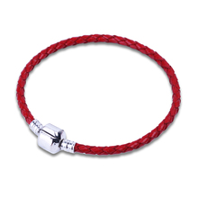 18-20cm Red Genuine Leather Bracelet Chain Fit For Charms Bracelets DIY Metal fit for Alloy Glass European Big Hole Bead