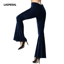 LASPERAL 2017 New Women Autumn Winter Flare Pants Elegant Bottom Wide Ruffles Long Trousers Low Waist Dancing Party Pantalones(China)
