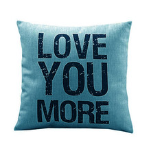 1PC Soft cotton LOVE YOU MORE pillow cushion case throw wait pillow slip case vintage style drop shipping on sale(China)