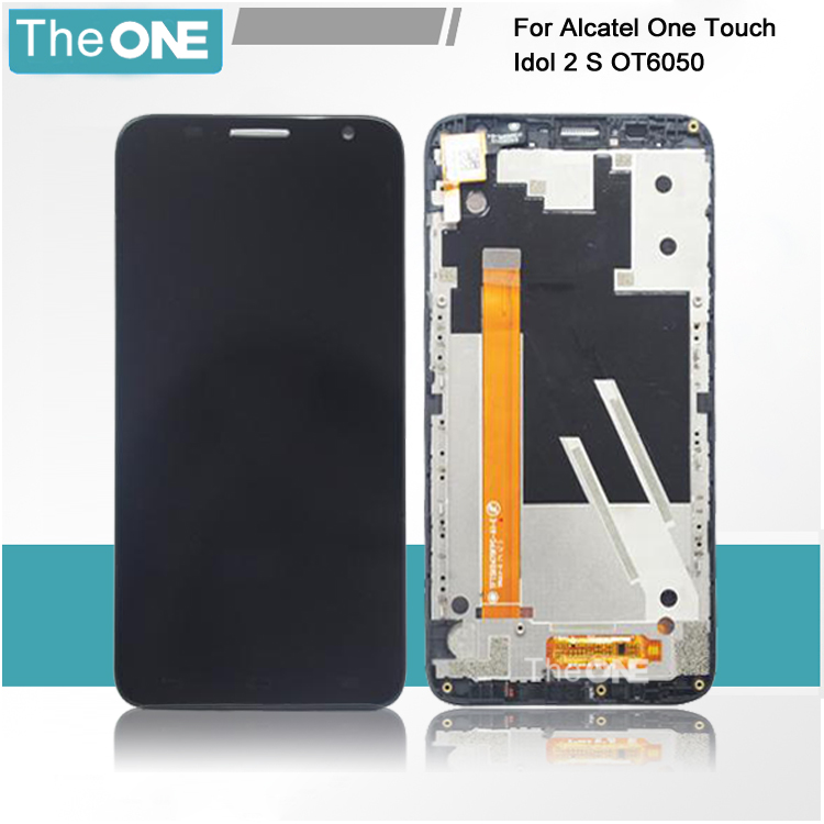 Black/White Frame For Alcatel One Touch Idol 2S OT6050 6050 LCD Display with Touch Screen Digitizer Assembly Free Shipping<br>
