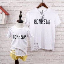 The New Hole Bottom Design Family Matching Clothing Short-sleeved Solid Letter Family Matching Outfits Soft Cotton Family Look