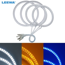 LEEWA 2X100mm 2X120mm 4pcs/Set Car LED Halo Rings Angel Eyes DRL Head Lamp For BMW E92 White/Blue/Yellow #CA4839(China)