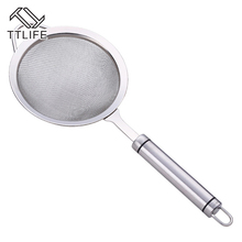 TTLIFE Stainless Steel Hanging Wall Pot Soup Ladle Long Handle Soup Ladle Hanging Spoon Skimmer Strainer Set Kitchen Cooking