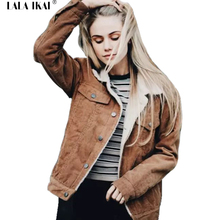 Women Pink Lambswool Jacket Coats Vintage Long Sleeve Corduroy Overcoats Hairly Collar Autumn Winter Jackets Females SWF0339-45