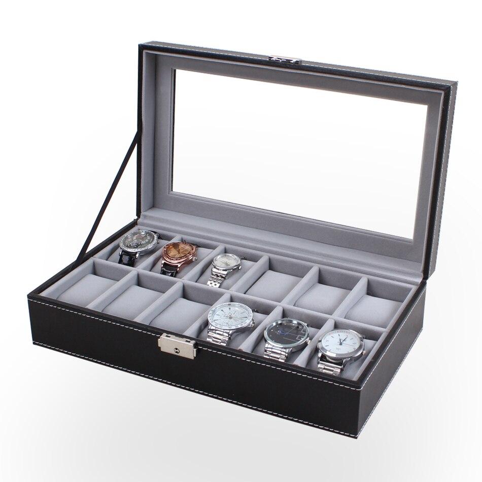 ZLIMSN 12 Grids Watch Display Box Black Leather Box Transparent Skylight Watches Storage Watchbox Lock Case Box Caixa Relogio<br>