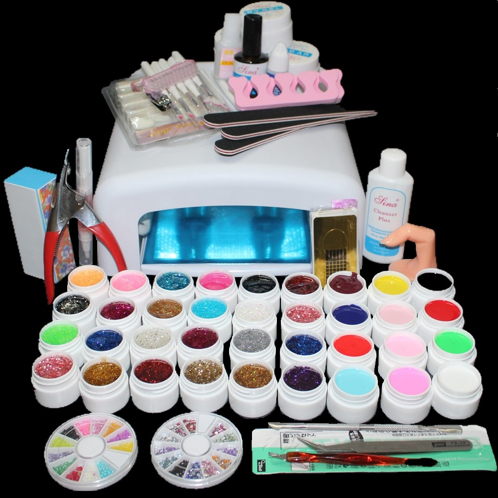 ATT-111 Free Shipping New Pro 36W UV GEL White Lamp &amp; 36 Color UV Gel Nail Art Tools Sets Kits<br><br>Aliexpress