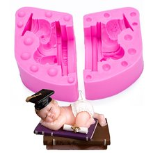 Drum Sleeping Boy Silicone Candle Mold Resin Clay Soap Baby Party Fondant Cake Decorating Tools Chocolate Candy FT-1021
