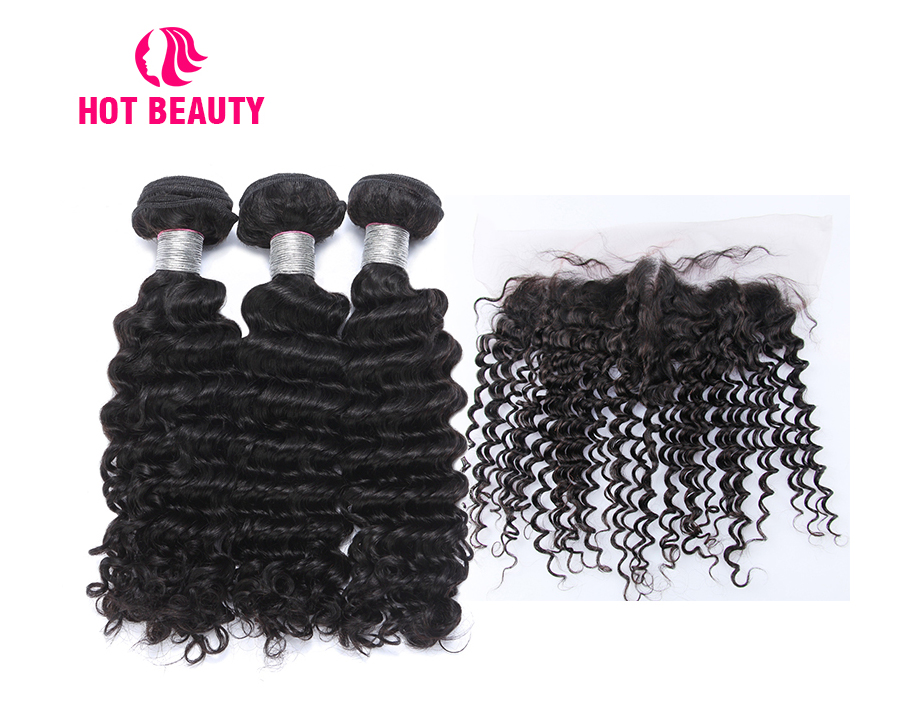 3-human hair bundles with closure