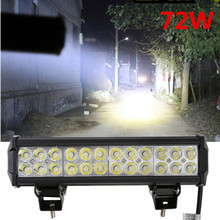 1pc 12 inch 5700LM 72W LED Light Bar offroad Truck Trailer 4x4 4WD SUV ATV Off Road spot worklight Lamp flood Spot combo Beam(China)