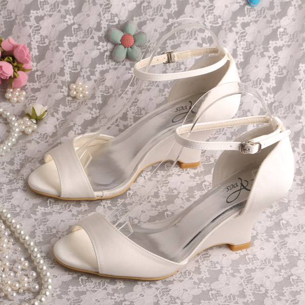 Wedopus New Brand Name Ankle Strap Wedge Sandals White Satin Size 8<br>
