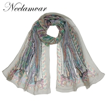 Neelamvar Georgette Chiffon Silk Scarf Women Brand elegent 2017 Autumn Winter Prints cashew Scarf shawls wholesale(China)
