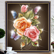 New 5D Diy Diamond Painting Flowers Diamond mosaic Cross Stitch Magic Cube Square Diamond Embroidery Colorful Rose & butterfly(China)