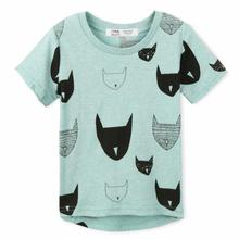 2017 New Style Summer Kids Tshirt 100% Cotton Jersey Allover Cat print Short Sleeves Boys Girls Baby T shirts