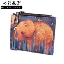 Animal Mini Wallet Women Simple Trend Graffiti Short Coin Purse Lady Fashion Cartoon Elephant Fox Owl Wallets Card Holder P553