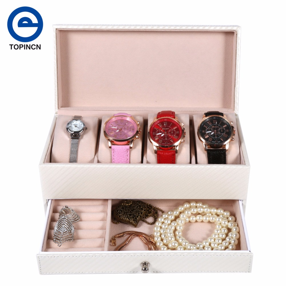 Portable Organizer Leather Jewelry Box Larger Capacity Makeup Organizer For Cosmetics Storage Accessory Luxury Best Gift Contain(China)