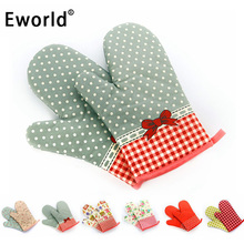 Eworld 2Pcs Country Style Kitchen Cooking Microwave Oven Mitt Insulated Non-slip Glove Thickening High Temperature Oven Glove(China)