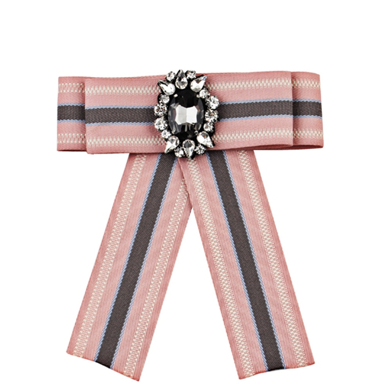 Fashion Plaid Bow Brooch Bow Bow Bohemian Long Ribbon Shirt Bowtie Pin Collar Jewelry Female Gift