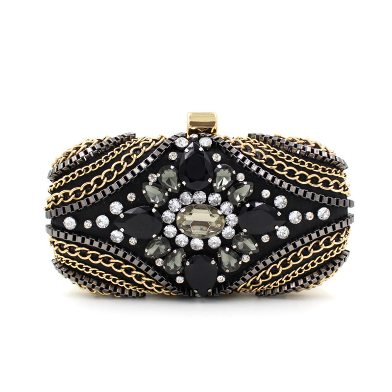 High Grade Rhinestone Clutch Bag for Women Black porcelain stones Bridal bag Day clutches Chains Casual clutch Evening bag cheap<br><br>Aliexpress