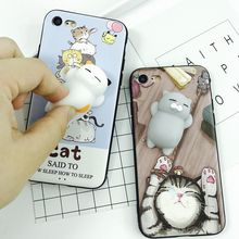 Lovely 3D Soft cat phone Cases For iphone 6 6s 6plus 7 7Plus cartoon Soft TPU silicone Animal Kitty phone back cover coque