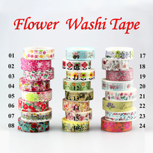 1Pc Flowers set 10m scrapbooking Japanese washi tape adhesive tape,Masking Tape decoration,DIY Sticky Paper Tape Photo Album(China)