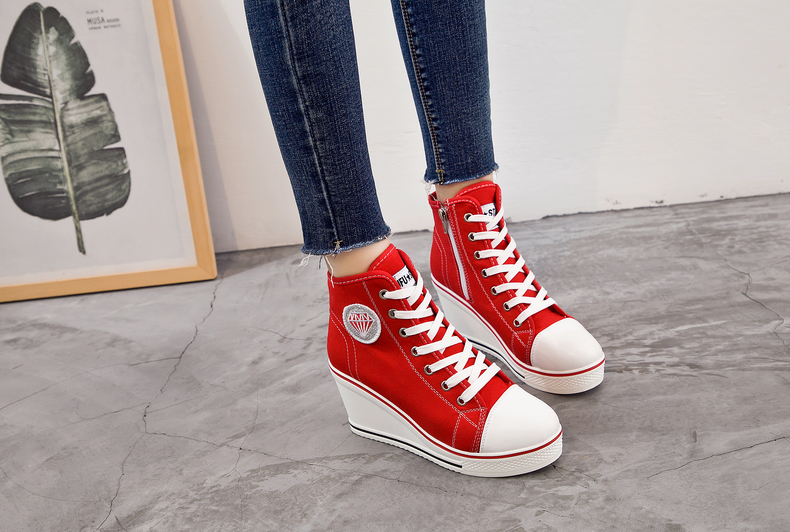 Women's Shoes Hidden Wedge Heel Shoes 18 Women Casual Shoes Canvas Sneakers High Top Breathable Platform Chaussure Femme 4