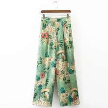 Vintage Ethnic Floral High Elastic Waist Loose Wide Leg Pants Pockets Fashion Women Casual Full Length Pants Trousers K17-02-22