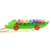 Crocodile Knock On Piano Baby Kids Wooden Toddler Learning Education Musical Toy Baby Boys Girls Education Toy