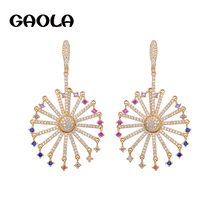 GAOLA Fashion New Ladies Rose Gold Color Earring Happy Ferris Wheel Colorful CZ Dangle Earrings Brand Jewelry Best Gift GLE6095(China)