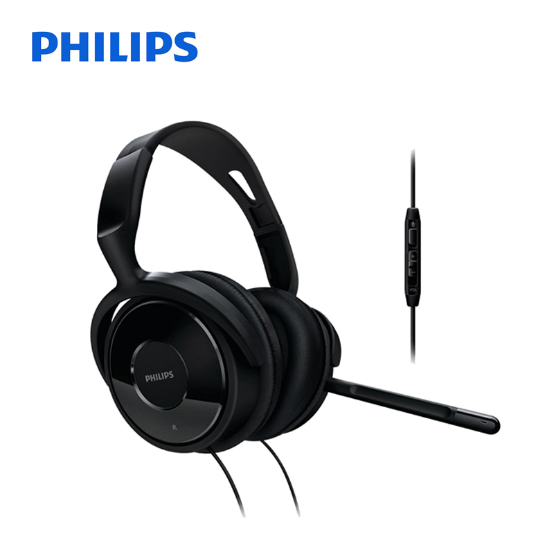 Philips Professional SHM6500 Headphones with Wire Control Microphone 3.5mm Plug for Music Phone Official Verification<br>