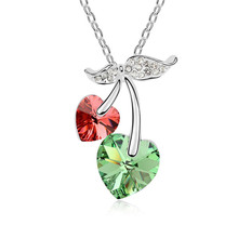 Fashion Brand Cherry Pendants Necklaces Made with Swarovski Element Women Heart Crystal Jewellery Girl Beautiful Collares Bijoux