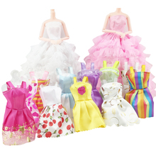 Hot 10 Pcs Mix Sorts Beautiful Party Clothes Sleeveless Dress Skirt for Princess Dolls Dress Up Baby Girls Kids Toys Gifts 2018(China)