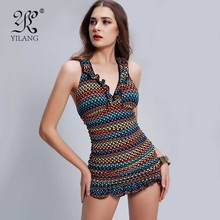 New Curled Selvedge V-neck Women One Piece Swimwear Dress Hot Sale Sexy Slimming Female Swimsuit Brazilian Scrunch  Beachwear XL